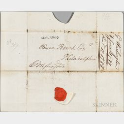 Washington, George (1732-1799) Free Franked Postmarked Envelope with Seal, 8 June 1788.