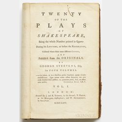 Shakespeare, William (1564-1616) ed. George Steevens (1736-1800) Twenty of the Plays  .
