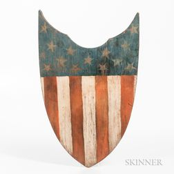 Red-, White-, and Blue-painted Shield