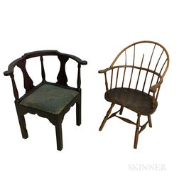 Sack-back Windsor Chair and a Chippendale-style Roundabout Chair.     Estimate $200-400