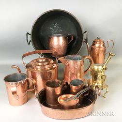 Thirteen Copper and Brass Items
