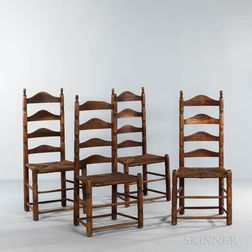 Set of Four Ladder-back Side Chairs