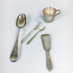 Tiffany & Co. Sterling Silver Serving Spoon, Shoe Horn, and Christening Mug