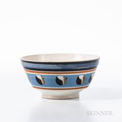 Cat's-eye and Slip-decorated Pearlware Bowl