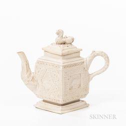 Staffordshire White Salt-glazed Stoneware Diamond-shaped Teapot