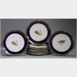 Set of Twelve Royal Worcester Plates Painted with Fishing Flies