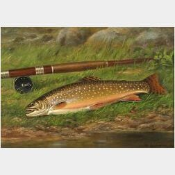 Wakeman Holberton (American, 1839-1898)  Eastern Brook Trout and Fishing Reel Beside a Stream.