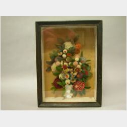19th Century Woolwork Floral Bouquet Shadowbox.