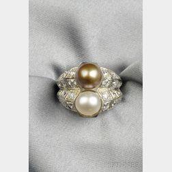Platinum, Natural Pearl, and Diamond Ring