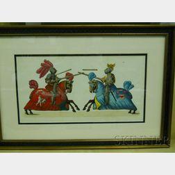 Pair of German Hand-colored Engravings of Jousting Knights