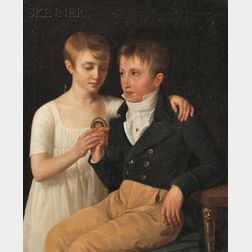 French School, 19th Century      Portrait of Henry and Adrienne de Chavagnac