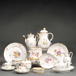 Assembled Meissen Porcelain Floral-decorated Luncheon Service