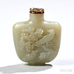 Flattened Square Flask-shape Jade Snuff Bottle