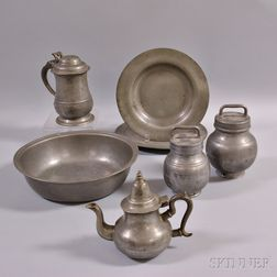 Seven Pieces of European Pewter