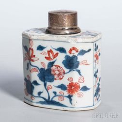 Export Porcelain Tea Caddy with Silver Lid