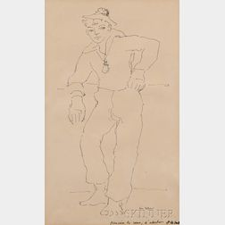 Rene Bolliger (Swiss, 1911-1971)      Ink Drawing of a French Sailor