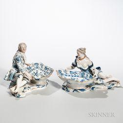 """Pair of Meissen """"Blue Onion"""" Porcelain Figural Bowls"""
