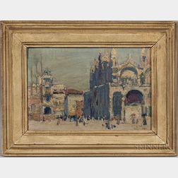 Ernest David Roth (American, 1879-1964)      Square in Venice