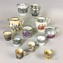 Twelve Silver Lustre Ceramic Jugs, Mugs, and Cups