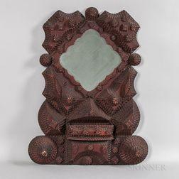 Elaborate Tramp Art Frame with Mirror