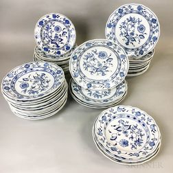Forty Pieces of Meissen Blue Onion Porcelain Tableware