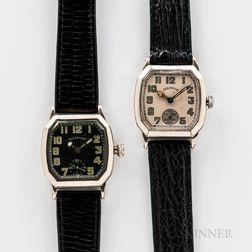 "Two Illinois Watch Co. ""Cut Corner"" Wristwatches"