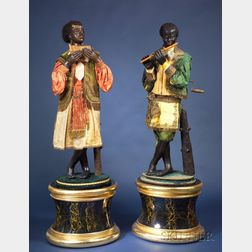 Exceptional Pair of Life-Sized Jean Roulet Blackamoore Musician Automata
