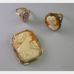 14kt White Gold Framed Shell Carved Cameo Brooch, a Cameo Ring, and a Gold, Seed   Pearl, and Amethyst Ring