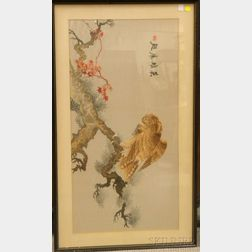 Framed Asian Embroidered Silk Panel Depicting a Bird of Prey on a Branch
