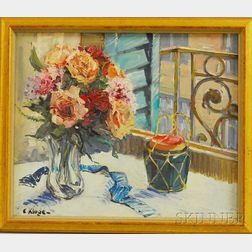Constantine Kluge (French, 1912-2003)      Still Life with Roses and Ginger Jar.