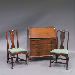 Pair of Queen Anne Mahogany Side Chairs and a Chippendale-style Slant-lid Desk