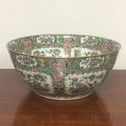 Large Rose Medallion Porcelain Punch Bowl
