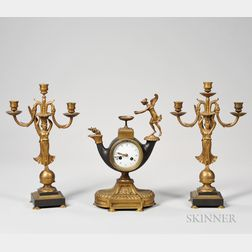 Three-piece Empire Bronze Clock Garniture