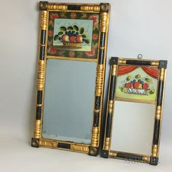 Two Federal Gilt and Reverse-painted Split-baluster Mirrors