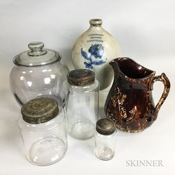 Six Glass and Stoneware Vessels