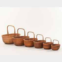 Nest of Six Oblong Nantucket Baskets