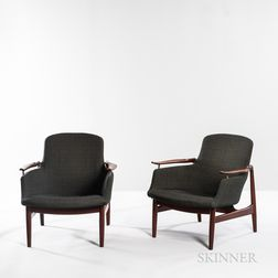 "Pair of Finn Juhl (1912-1989) for Niels Vodder ""NV-53"" Lounge Chairs"