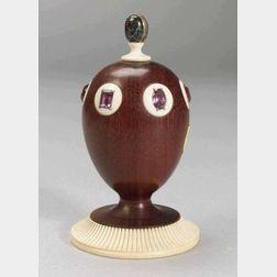Theo Faberge Purpleheart, Stone Mounted and Ivory Egg