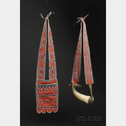 Early Beaded Cloth Shot Pouch and Powder Horn Set