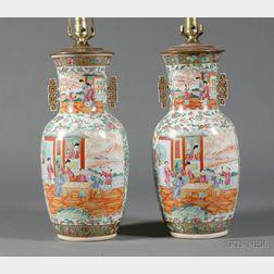 Pair of Large Rose Mandarin Porcelain Lamp Bases