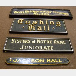 Four Painted Wooden and Masonite Signs