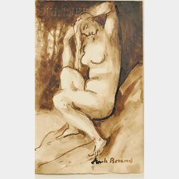 Emile Bernard  (French, 1868-1941)      Portrait of a Seated Nude