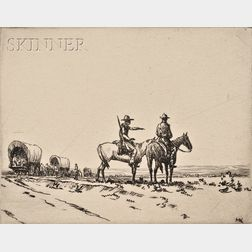 Hans Kleiber (American/German, 1887-1967)      Lot of Two Wagon Train Views:  Wagon with Oxen