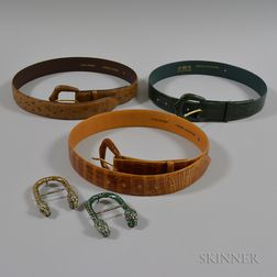 Three Lana Marks Leather Belts and Two Gucci Sterling Silver and Enamel Tiger Buckles