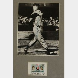 Framed Ted Williams Autographed Photo and Autographed UAE Commemorative   U.S./Japan Baseball Stamp