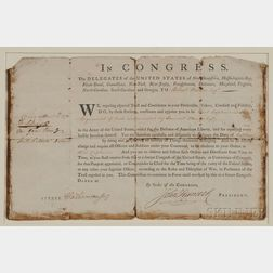 Hancock, John. (1737-1793) Military Commission Signed, 15 April 1776.