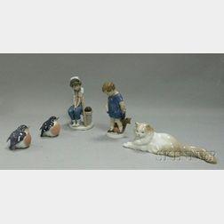 Five Mostly Royal Copenhagen and Lladro Ceramic Figures