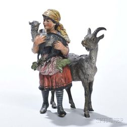Franz Bergman Cold-painted Bronze Figure of a Girl with Goats