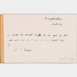 Lewis, Clive Staples (1898-1963) Autograph Postcard Signed, 27 October 1959.