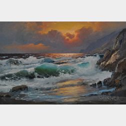 Alexander Dzigurski (American, 1911-1995)      Coastal Cliffs at Sunset